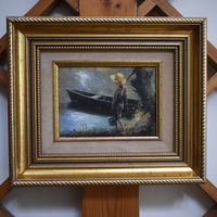 """Картина в раме """"Мальчик с лодкой"""""""