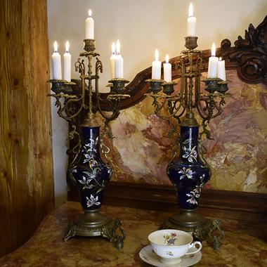 Антикварные канделябры на 5 свечей, пара