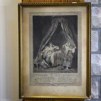 Старинная гравюра начала ХХ века Le Lever